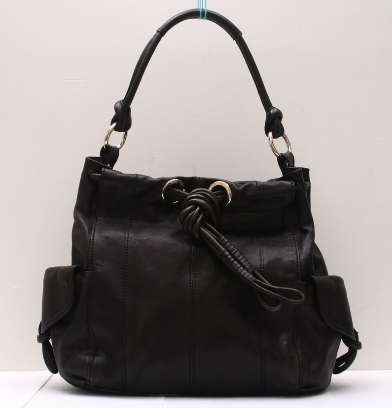 Michael Kors Black Leather Greenport Drawstring Shoulder Large Handbag