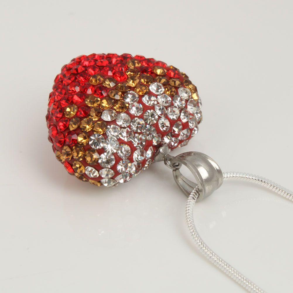 25mm Red Heart Shaped Rhinestone Pendant Necklace Fashion Beautiful
