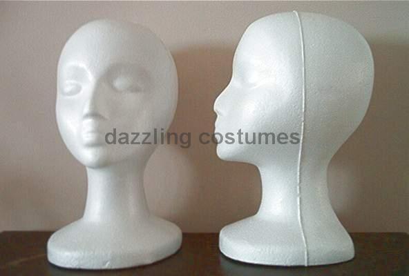 styrofoam mannequin heads for costume wig hat sunglasses headdresses