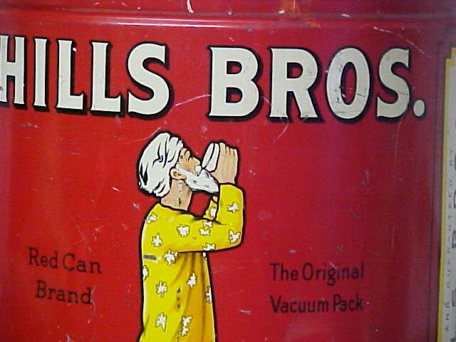 Giant 1936 Hills Bros Coffee Red Can Brand w Lid Old Tin Vtg Key Wind