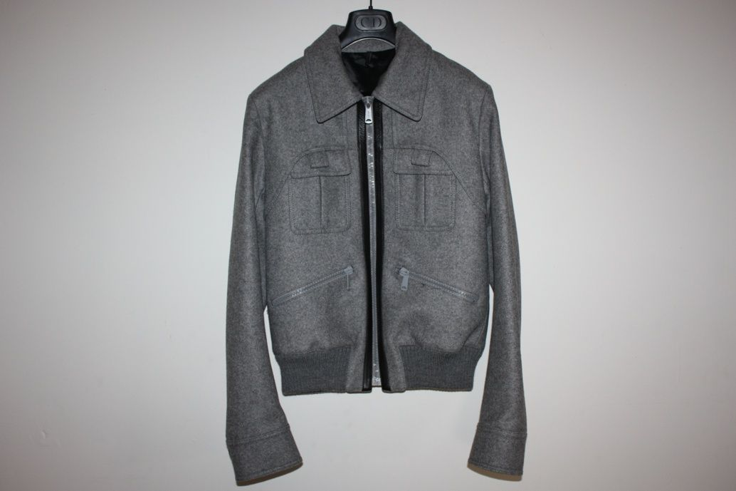 Jacket Aw06 Sz With Hedi Homme Wool Gray Dior By Piece Leather 48 qfSBxwSI4