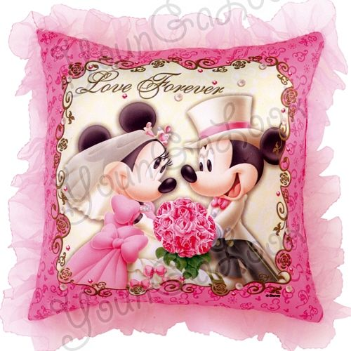 Disney Mickey Minnie Mouse Wedding Cushion Pillow