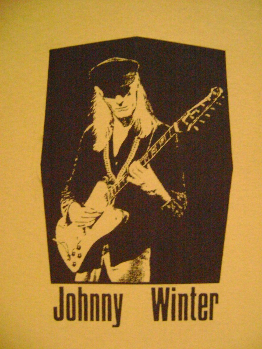 Johnny Winter Rock Blues Guitar T Shirt