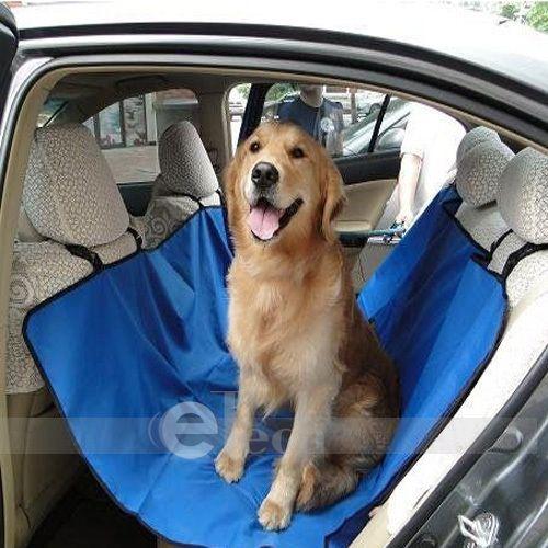 Nylon Hammock Pet Dog Cat Car Seat Cover Blue 59X55