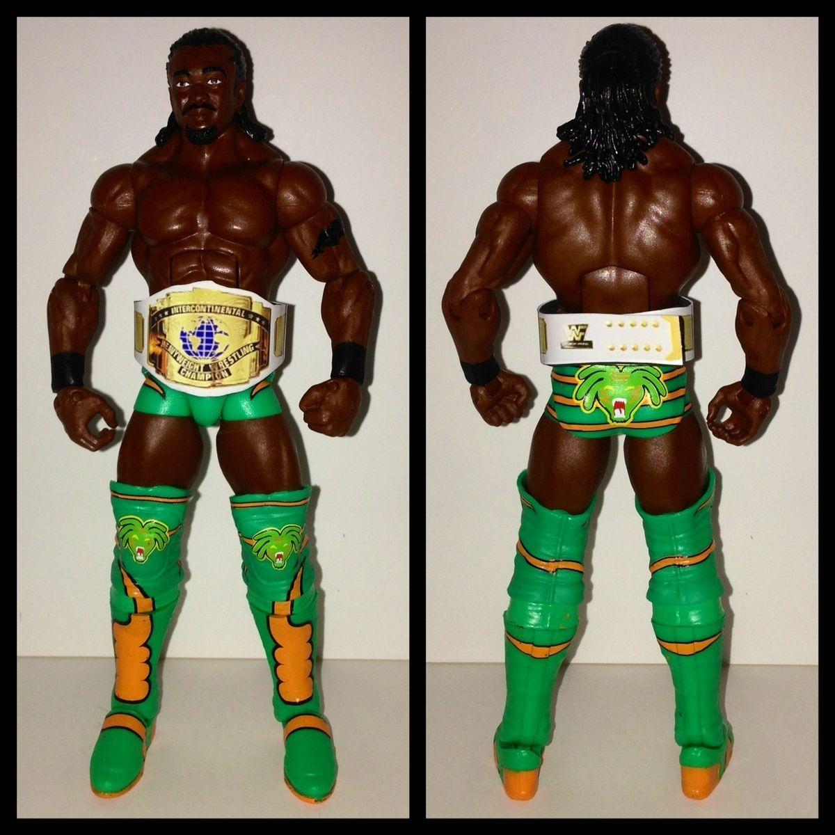 WWE Mattel Kofi Kingston custom IC Belt Wrestling Action Figure Lot