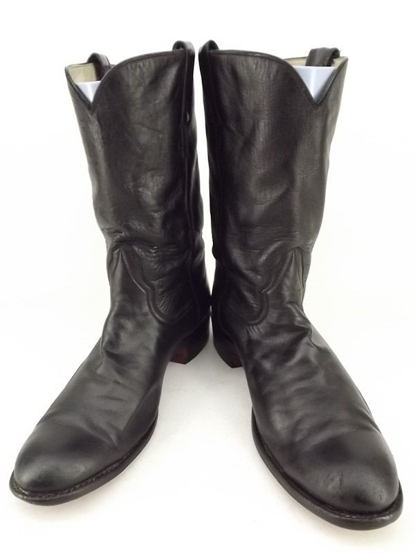 Mens cowboy boots black leather Larry Mahan 9 D classic western roper