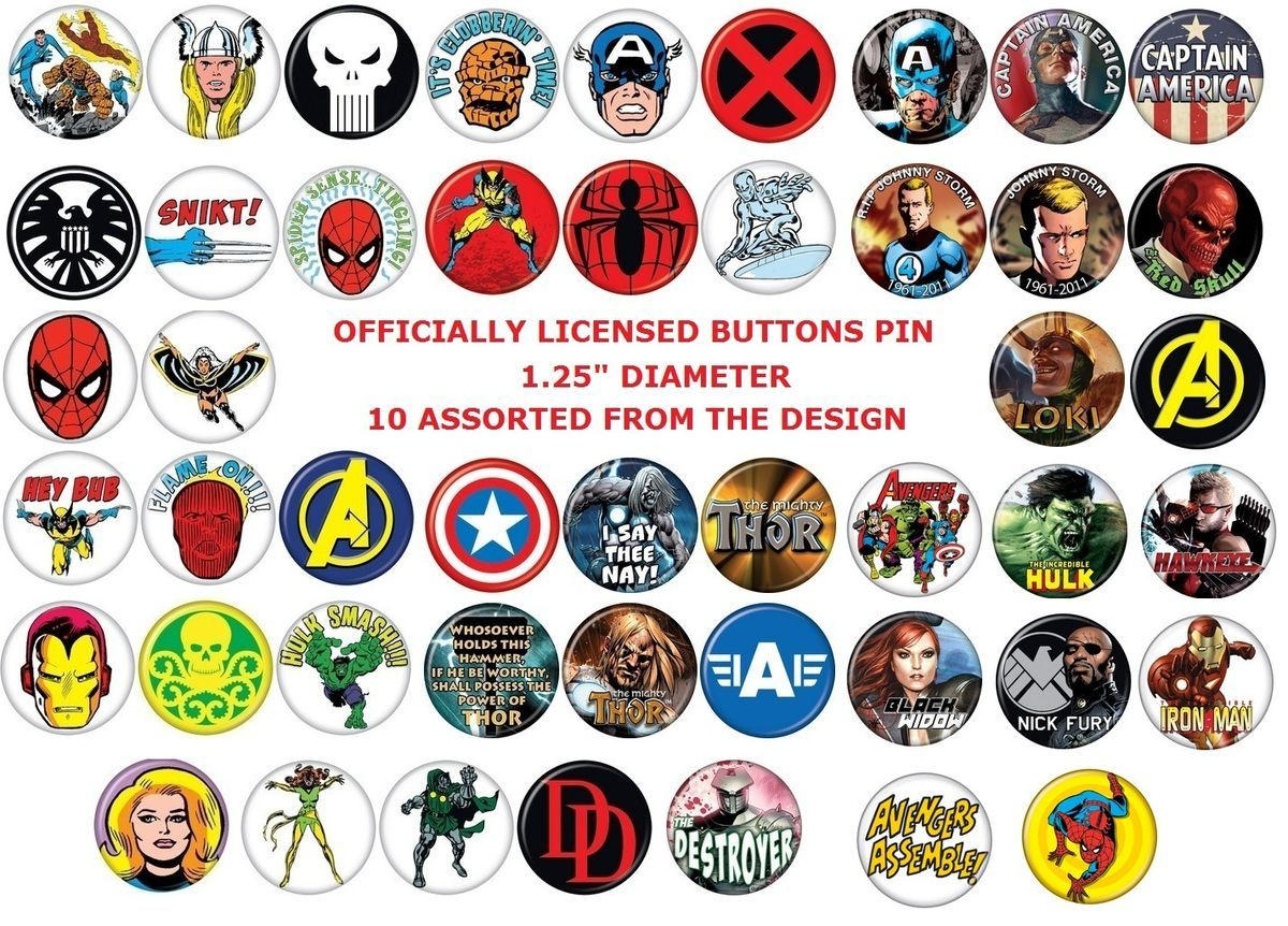 10 Assorted Marvel Button Pins 1 25