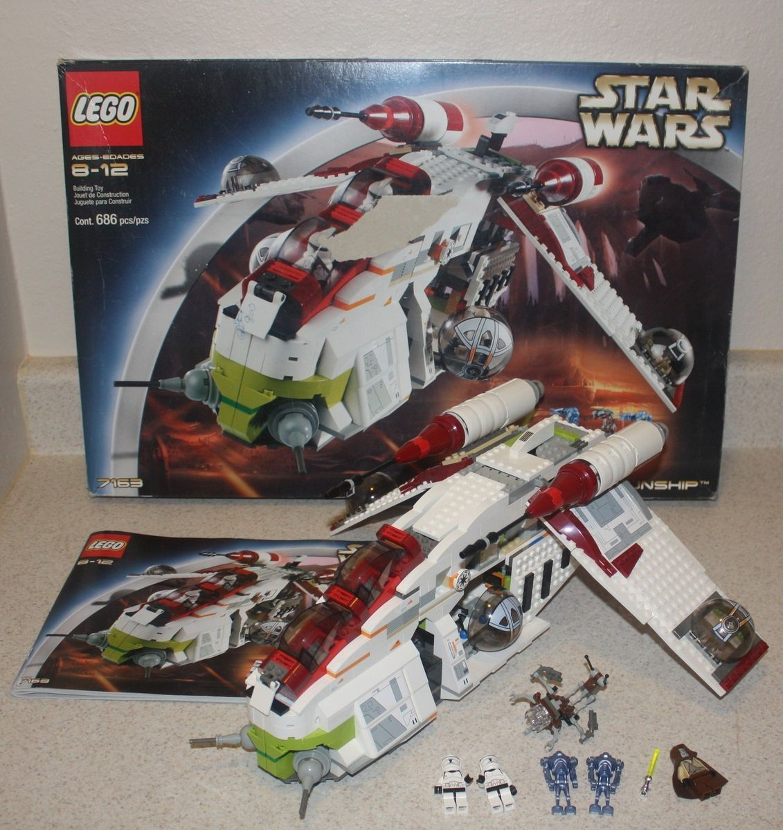 Lego Star Wars 7163 Republic Gunship With Box And Instructions