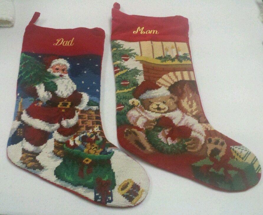 Lillian Vernon Heirloom Needle Point Christmas Stockings Mom Dad