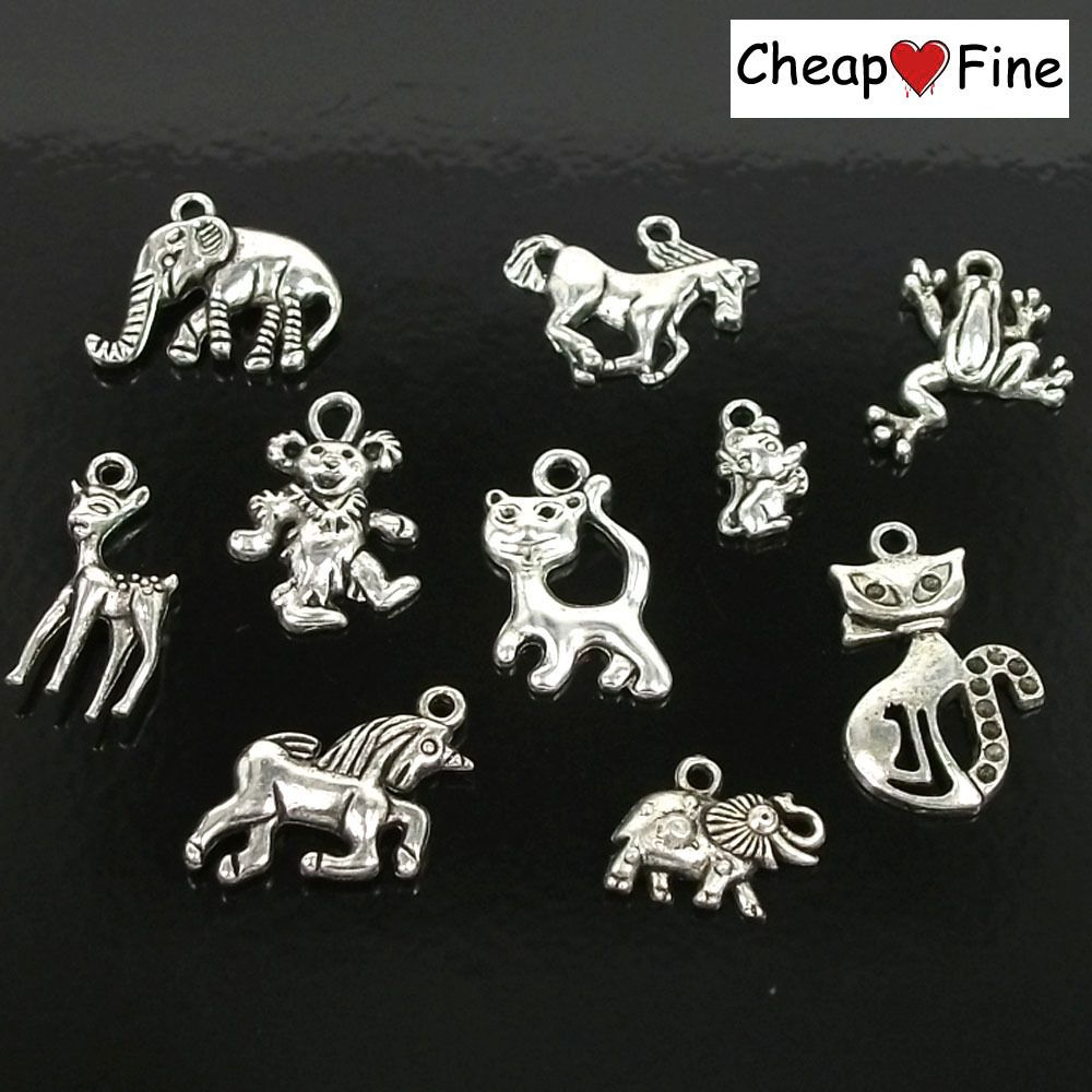 Tibetan silver mixed amimal Elephant Horse Frog Lion Charms Beads