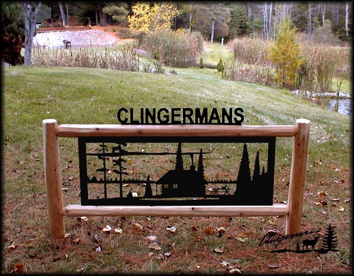PERSONALIZED WHITETAIL DEER SIGN CLINGERMANS OUTDOOR SIGNS RUSTIC LOG DECOR
