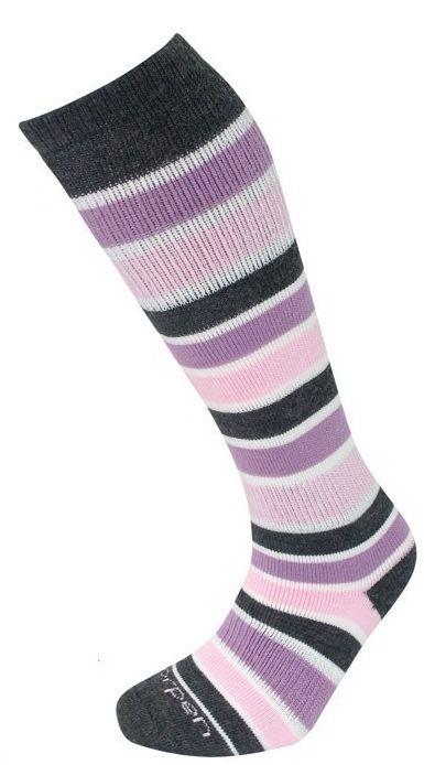 LORPEN Ski Over Calf Merino Wool Socks Pink Grey Stripes Size s M S2WL