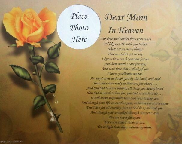 in Heaven Poem Memorial Verse Gift in Loving Memory of Mother