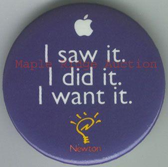 Vintage Apple Computer Apple Newton PDA Button Pin Back C 1993 95