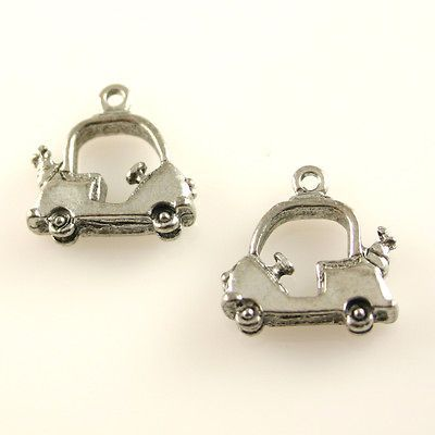 Cartoon Style Golf Cart   5 Lead Free Antique Silver Tone Pewter