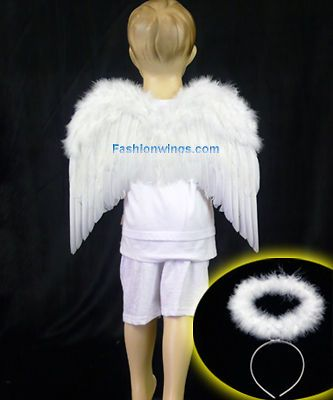 Childrens feather angel wings & marabou headband halo angel bird