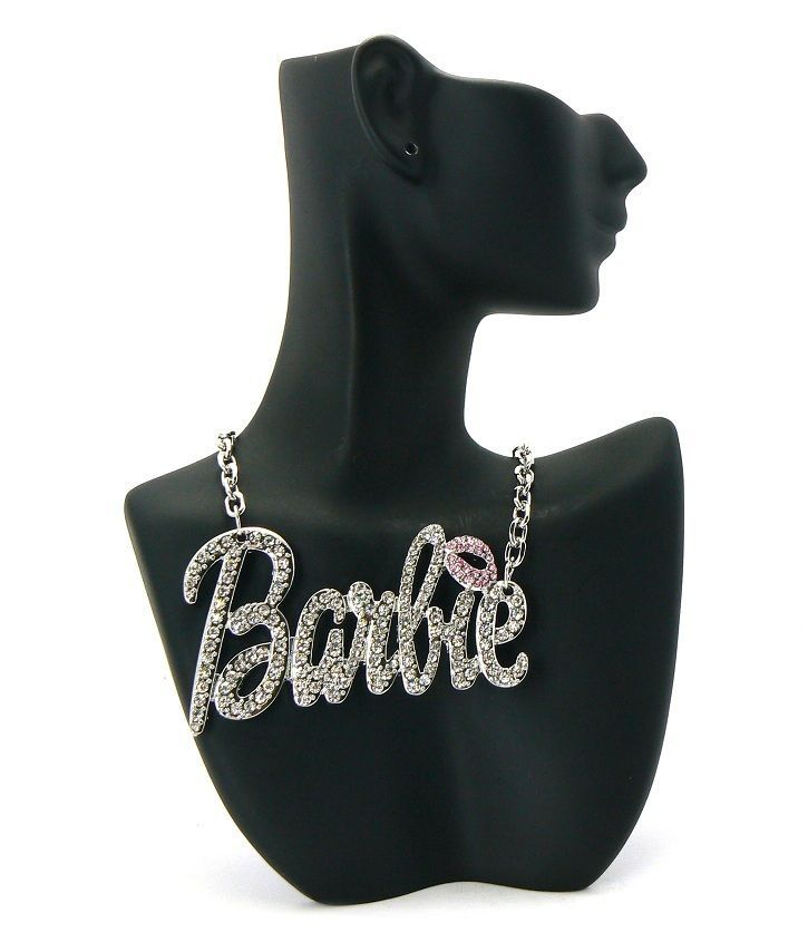 Nicki Minaj Iced Out Crystal  BARBIE Pendant Necklace Large w/18