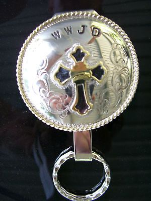 Newly listed German Silver & Brass Cross Clip On Key Chain NICE