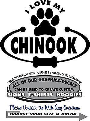 Chinook Dog Love My Paw Bone Sticker Decal 4 Laptop Car Wall Dog Dish