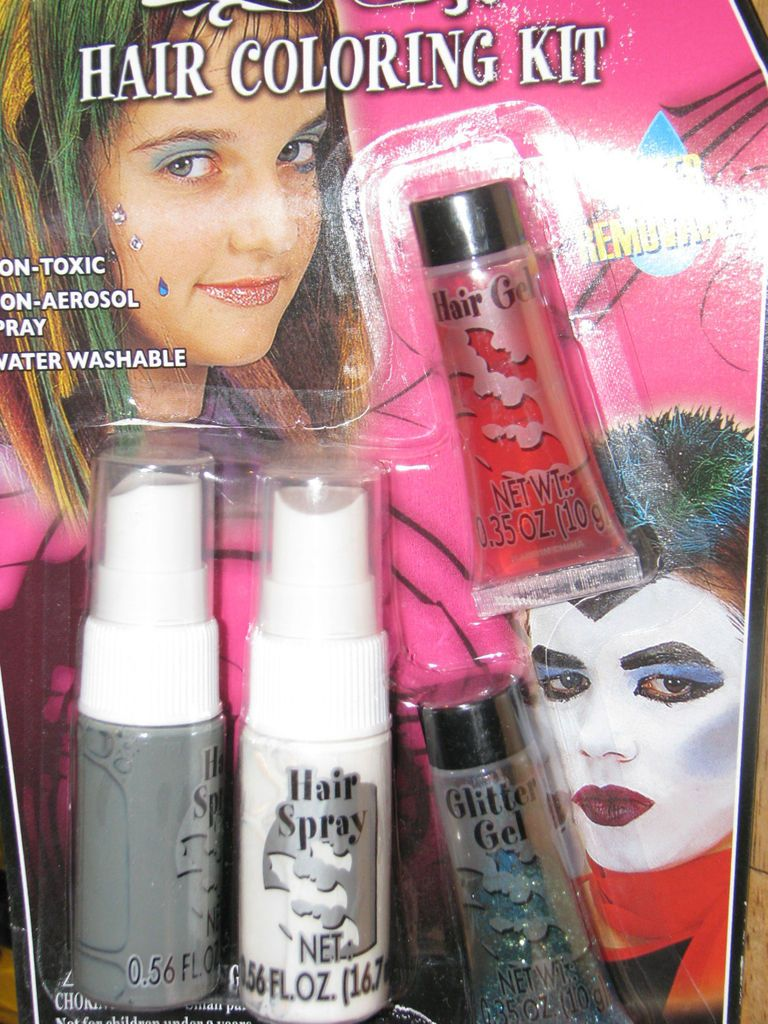 Halloween Makeup Glitter Kit Green Grey White Hair Color Spray Gel