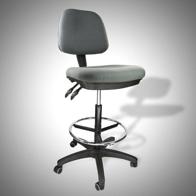 drafting chair stool ergonomic grey adjustable footring mult