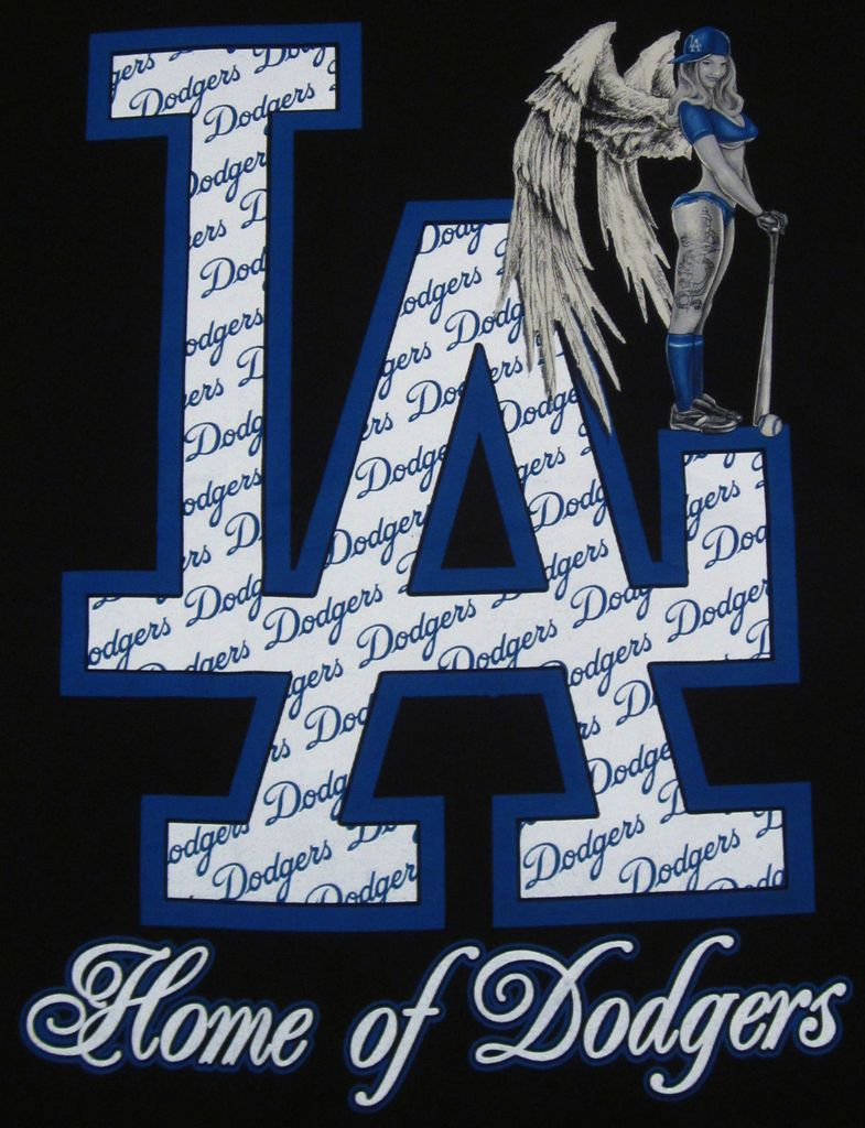 Los Angeles LA DODGERS T Shirt Tattoo Angel Adult Tee Shirt M,L,XL,2XL
