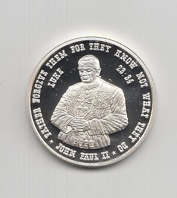 Jesus and Pope John Paul II one ounce silver round