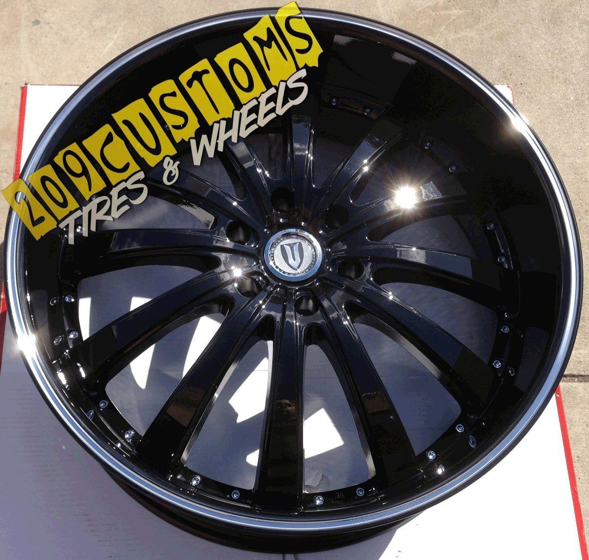 VERSANTE RIMS WHEELS TIRES VW219 BLACK 24X9 5 6X139 7 TAHOE 2008 2009