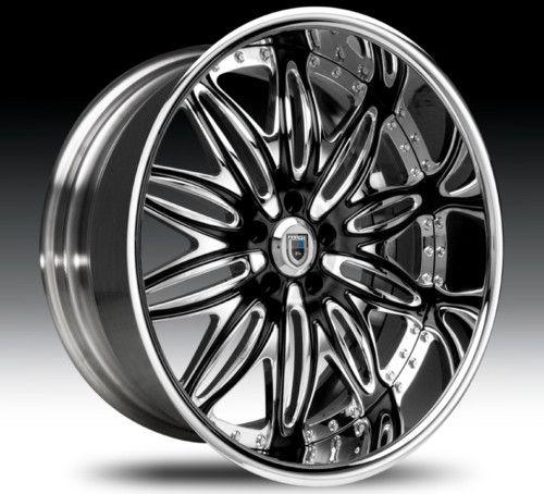 22 asanti AF151 Black Chrome Wheels Rims 2 Piece Tone