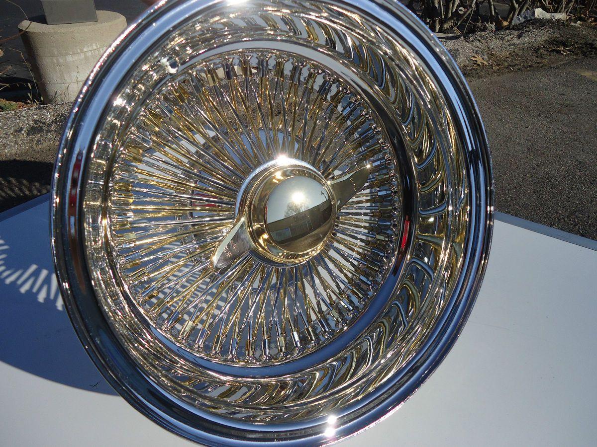 14 DAYTON Gold & Chrome 14x7 Wire Wheels Deep dish Rims knockoff