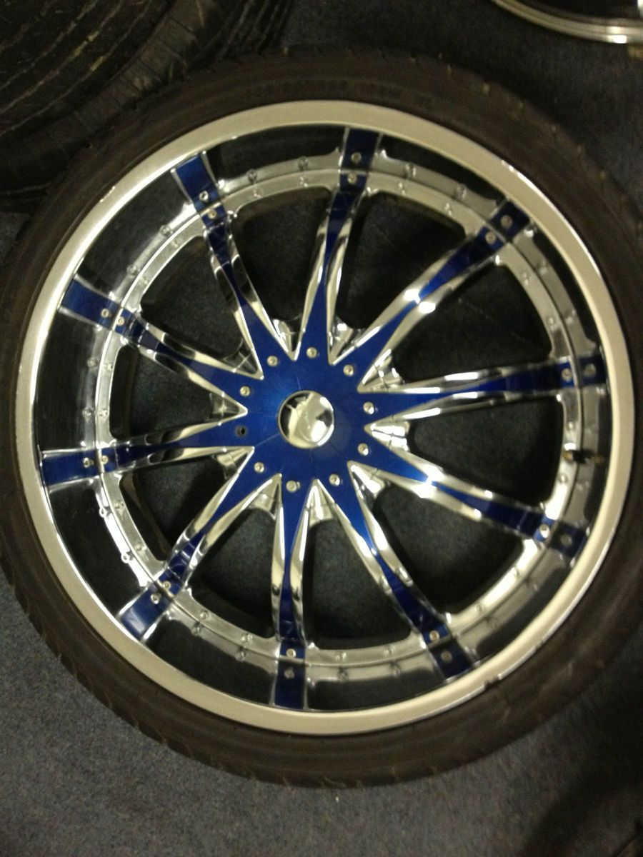 26 VCT Abruzzi Chrome Black Wheels Cadillac Escalade GMC Rims Used 26