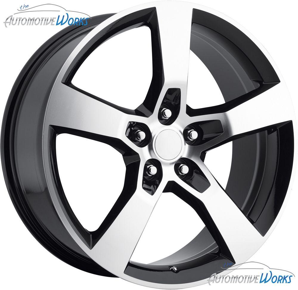 Replica Chevy Camaro SS 5x120 40mm Black Machined Wheels Rims Inch 20