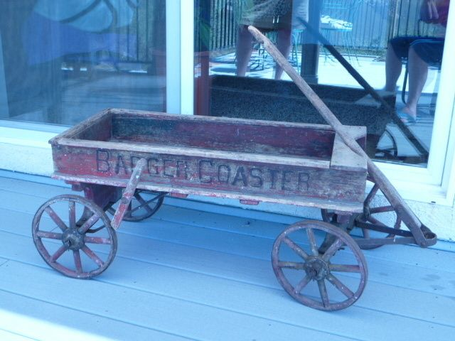 Antique Childs Wooden Wagon Wspoke Wheels Late 1800s Early 1900s