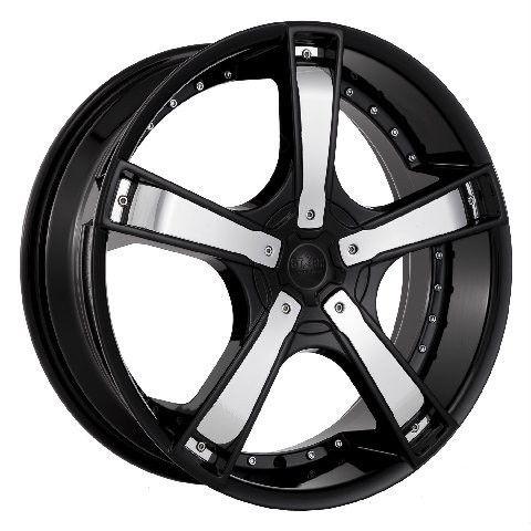 20 Black Wheels Rims Tires Pkg Chrome Inserts Starr 663 FWD 5x114 3