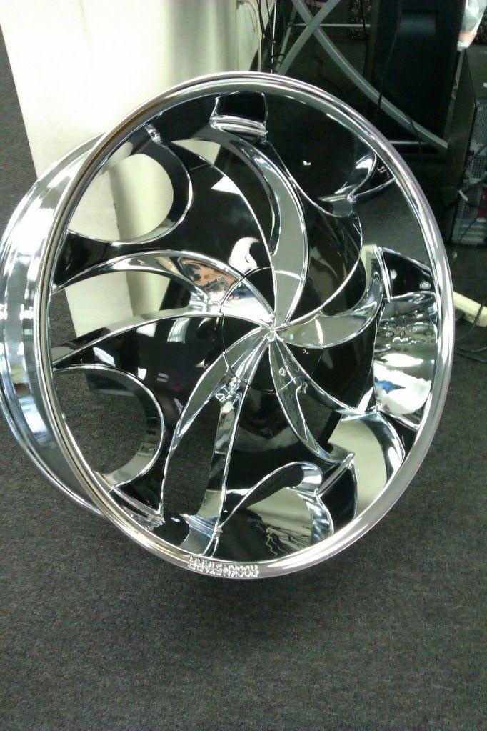 26 Rocknstarr 561 Rims Tires Pkg Chrome Wheels Black Inserts 5x115