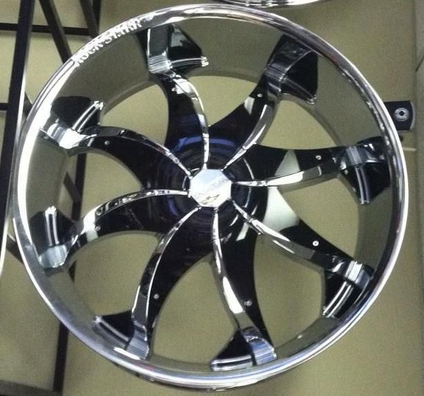22 Rocknstarr 608 Chrome Wheels Rims Tires Pkg Black Inserts 5x115