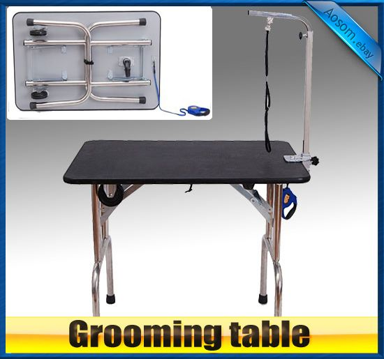 Portable Folding Pet Dog Cat Grooming Table w Wheels