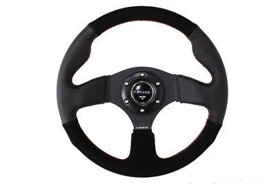 NRG Race Series 320mm Racing Steering Wheel Black Suede Leather w Red