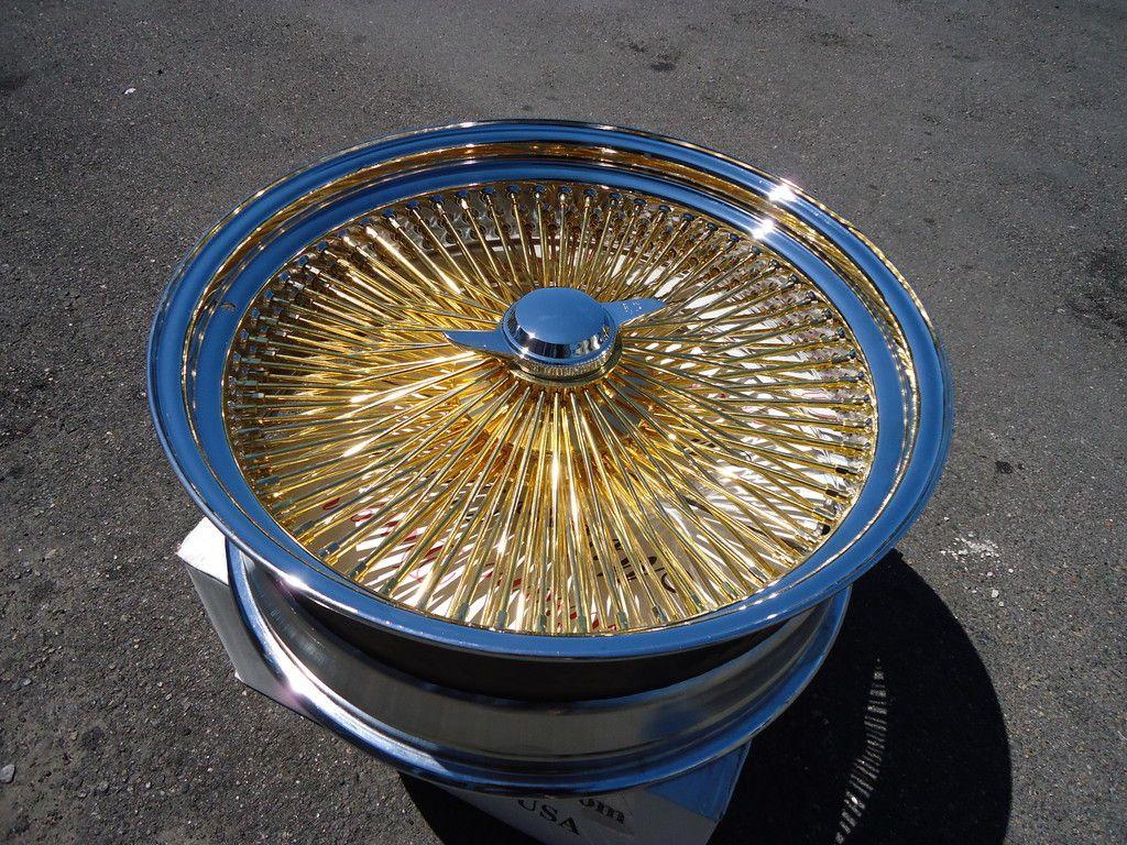 20 Triple Gold 20x8 Wire Wheels Gold Full Set Rims New