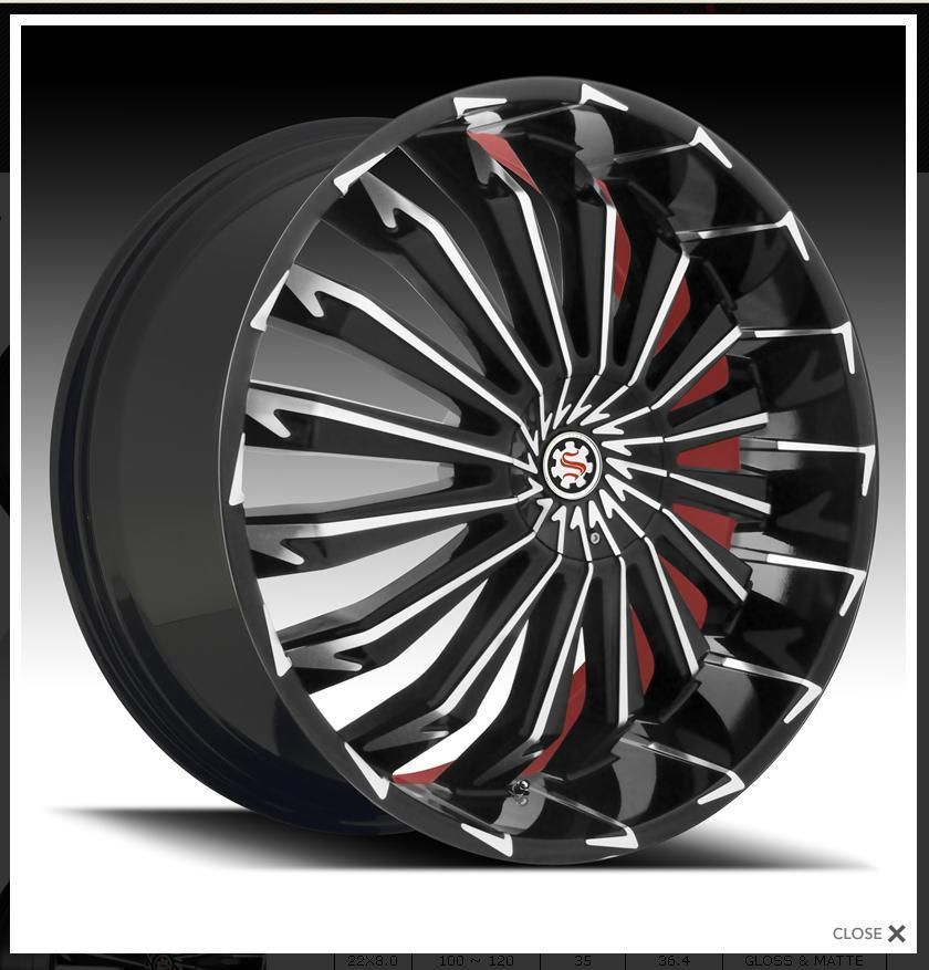 24 Scarlet SW6 Black Red Wheels Rims Tires Fit Chevy Cadillac GMC